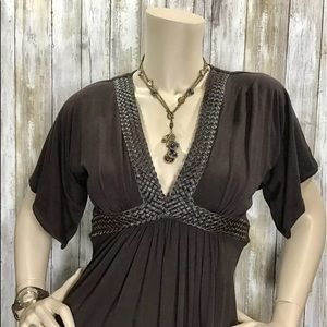 Sky Braided Leather Accent V Neck Top Tie Back